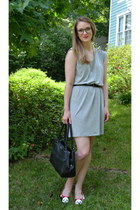 heather gray Old Navy dress - black kate spade bag