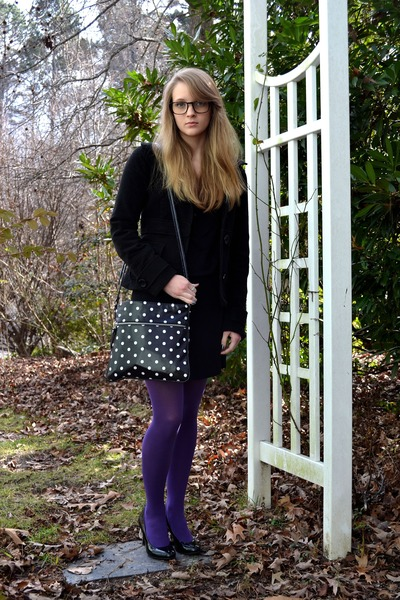 black Old Navy dress - black polka dots merona bag - black Steve Madden heels