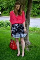 hot pink papaya blouse - black Prabal Gurung for Target skirt