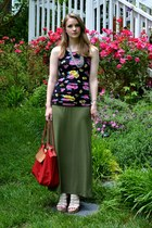 olive green Mossimo skirt - black floral print H&M flats - beige Aldo wedges