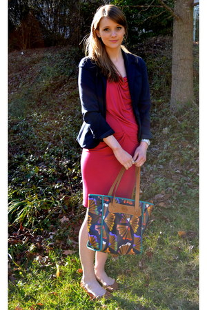 magenta Michael Kors dress - navy Gap blazer - tan Betseyville flats