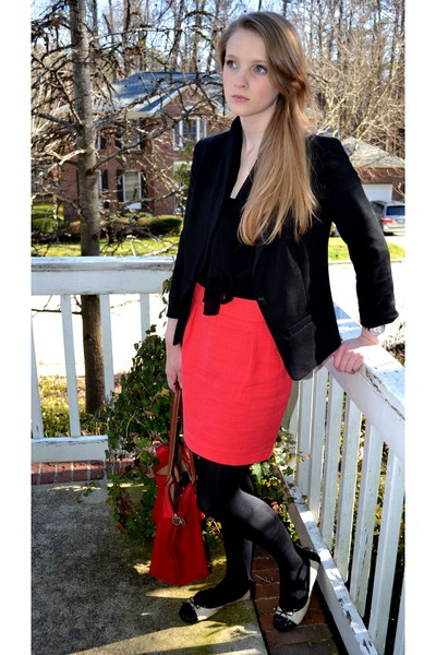 black Mossimo blazer - black sheer Old Navy blouse - red tweed Mossimo skirt
