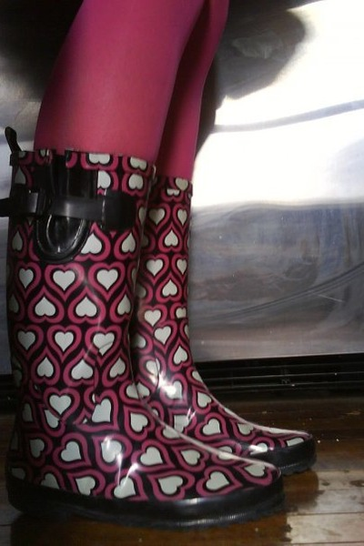 hot pink Thrift Store tights - black rainboots Thrift Store boots
