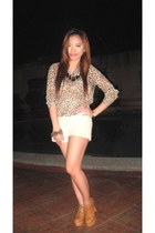 eggshell Pill shoes - beige Bayo shorts - brown Forever 21 blouse