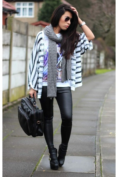 asos shoes - asos leggings - asos scarf - asos bag - asos cardigan