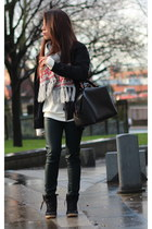 Primark scarf - Zara pants - River Island sneakers