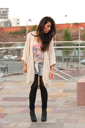 warehouse cardigan - new look boots - pull&bear shorts - Primark vest