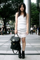 black lace-up Code Red boots - white knitted Valleygirl dress - navy satchel bag