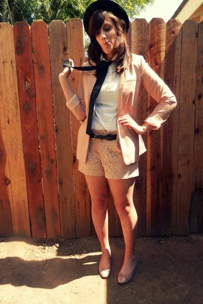 black bowler Forever 21 hat - peach H&M blazer - peach LC Lauren Conrad shorts