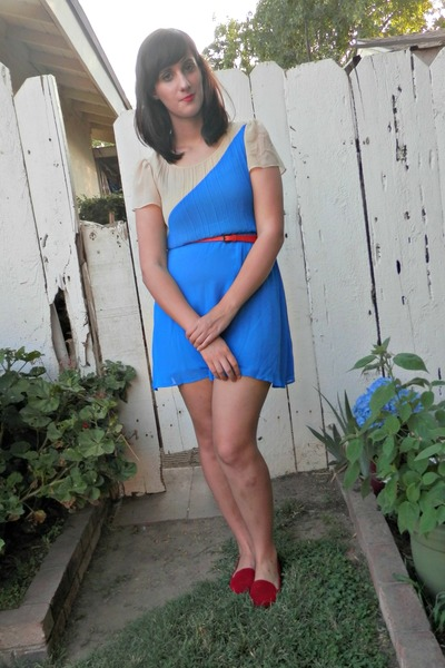 ruby red Target belt - sky blue Forever 21 dress - ruby red cotton on loafers