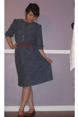 thrift dress - thrift belt - Rockport shoes - Forever21 accessories