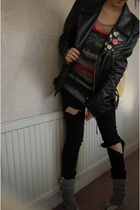unknown jacket - Kate Moss for Topshop cardigan - Topshop jeans - Topshop socks