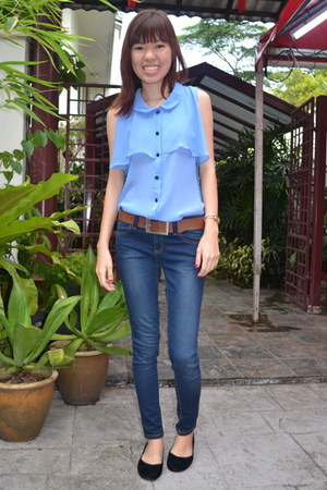 bangkok blouse - united colors of benetton jeans - bangkok flats - Esprit belt