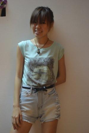 light blue bangkok shorts - aquamarine Roxy shirt - black deeper and harder belt