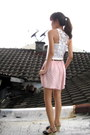 Light-pink-mart-by-mooie-shorts-navy-unasa-wedges-white-flea-market-top-br