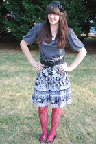 gray Forever 21 dress - black h&m via thrift town skirt - pink Urban Outfitters