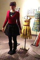 pink Forever 21 shirt - black Forever 21 skirt - black gift boots