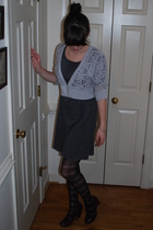 silver thrifted cardigan - gray Victorias Secret dress - black Urban Outfitters