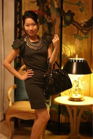 black bag - gray dress - brown necklace - gold shoes