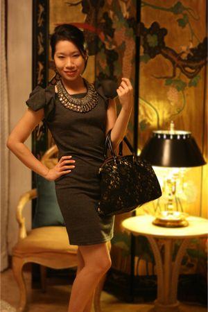black bag - gray dress - brown necklace - gold shoes
