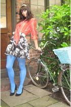 red vintage blouse - white vintage belt - black H&M skirt - blue Anthropologie t