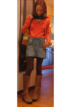 salmon Kookai cardigan - salmon Kookai top - light blue Fiorucci skirt - camel R