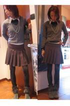 MALO blazer - ferre shirt - Vintage Moschino skirt - socks - Le Silla boots