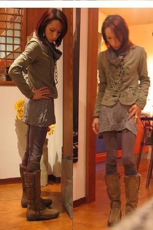 green Diesel blazer - gray modo dress - gray leggings - beige REPLAY boots