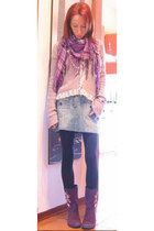 light purple scarf Burberry scarf - amethyst ankle boots killah boots