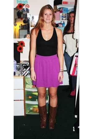 purple Target skirt - brown bought in Burbank boots - black top