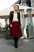 crimson asos skirt - black H&M boots - black thrifted hat