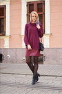 Black-stradivarius-boots-maroon-boyfriend-thirfted-sweater
