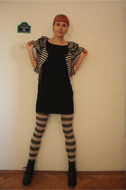 black H&M cardigan - black H&M dress - white H&M tie - black red lips boots