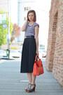 Stripes-thrifted-shirt-zara-bag-pleated-thrfited-skirt