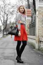 light pink H&M hat - black H&M boots - heather gray stripes nowIStyle sweater