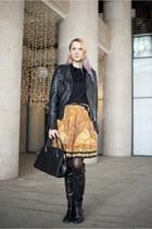black leather Pull jacket - black nowIStyle bag - orange vintage skirt
