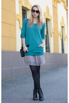 teal H&M sweater - black cut out Stradivarius boots - tan c&a dress