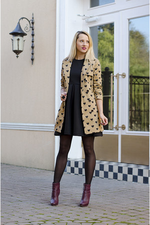 camel hearts Sheinside coat - magenta ankle H&M boots - black PERSUNMALL dress