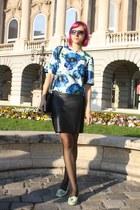 black faux leather H&M skirt - blue thrifted shirt - aquamarine bb up flats