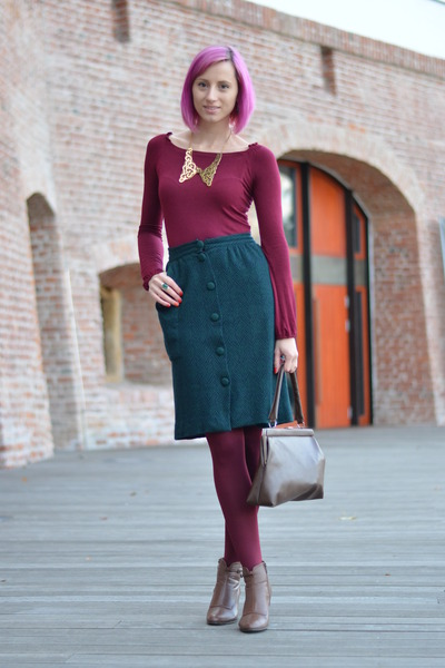 brown AMANDA boots - magenta thrifted shirt - maroon Mondex tights