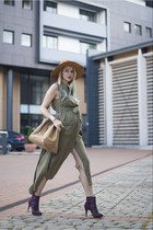 army green army Sheinside dress - deep purple H&M boots - tan Mango bag