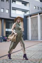 army green army Sheinside dress - deep purple H&M boots - tan Mango bag