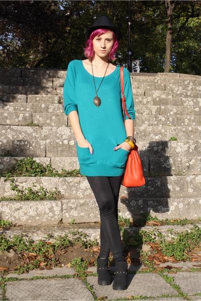 Zara bag - random boots - H&M dress - faux leather Stradivarius leggings