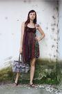 Red-mihaela-cretescu-dress-black-random-shoes-thrifted-purse