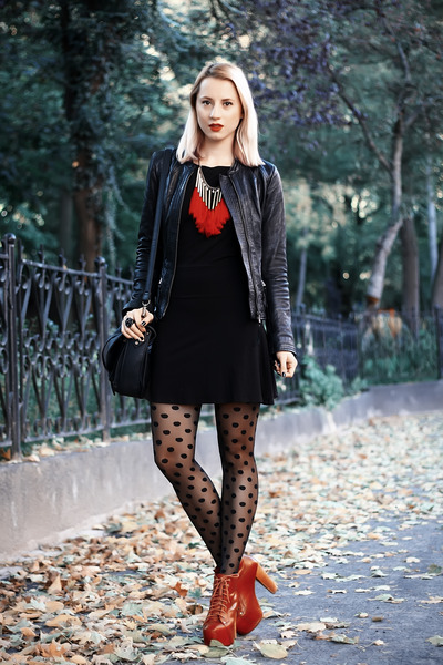 black thrifted dress - ruby red litas Jeffrey Campbell boots