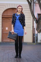 clutch studded Stradivarius bag - H&M dress - polka dots thrifted cardigan