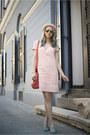 Light-pink-c-a-dress-light-pink-h-m-hat-red-zara-bag