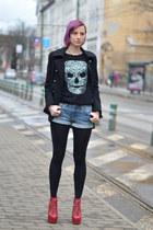 skul H&M sweater - Jeffrey Campbell boots - military H&M coat - denim H&M shorts