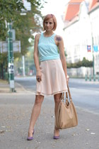 peach thrifted skirt - light blue H&M top - purple Filty heels