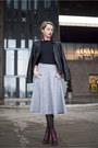 Magenta-h-m-boots-black-leather-pull-bear-jacket-heather-gray-midi-h-m-skirt